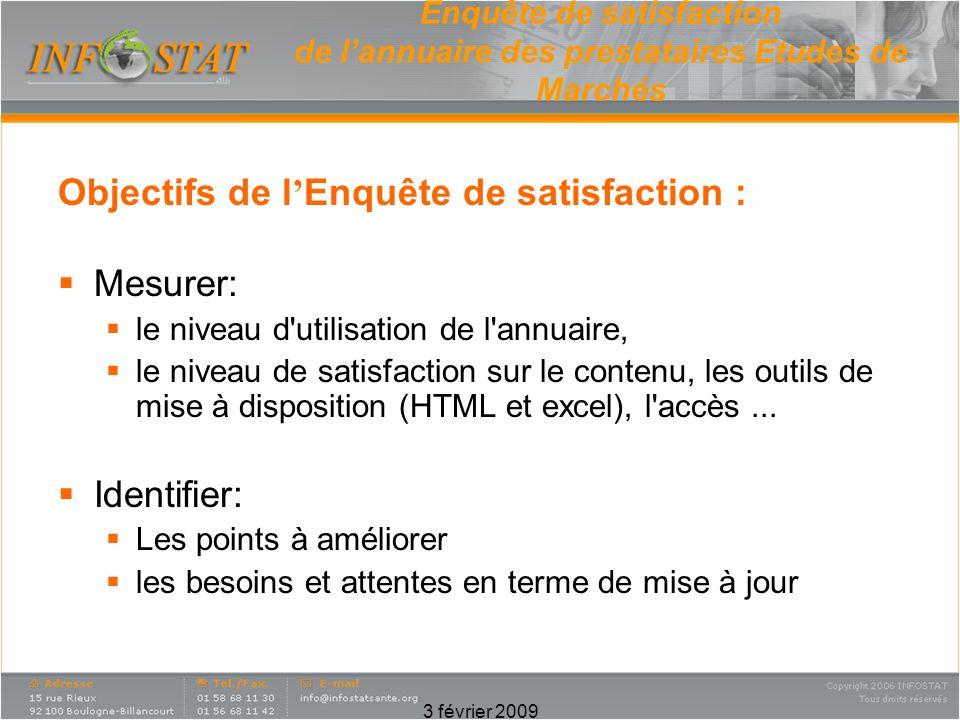 Objectifs de l'Enquête de satisfaction : Mesurer: