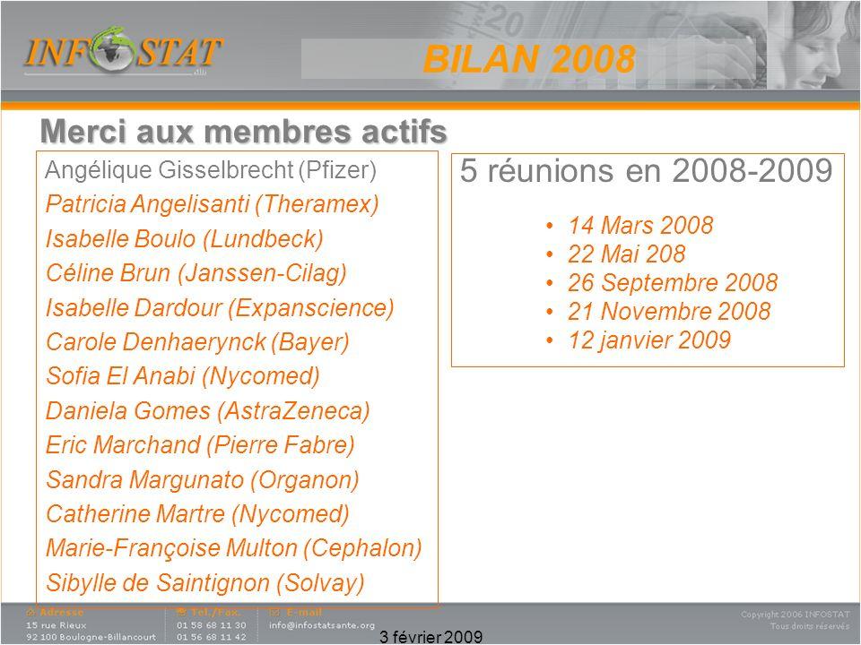 BILAN 2008 Merci aux membres actifs 5 réunions en 2008-2009