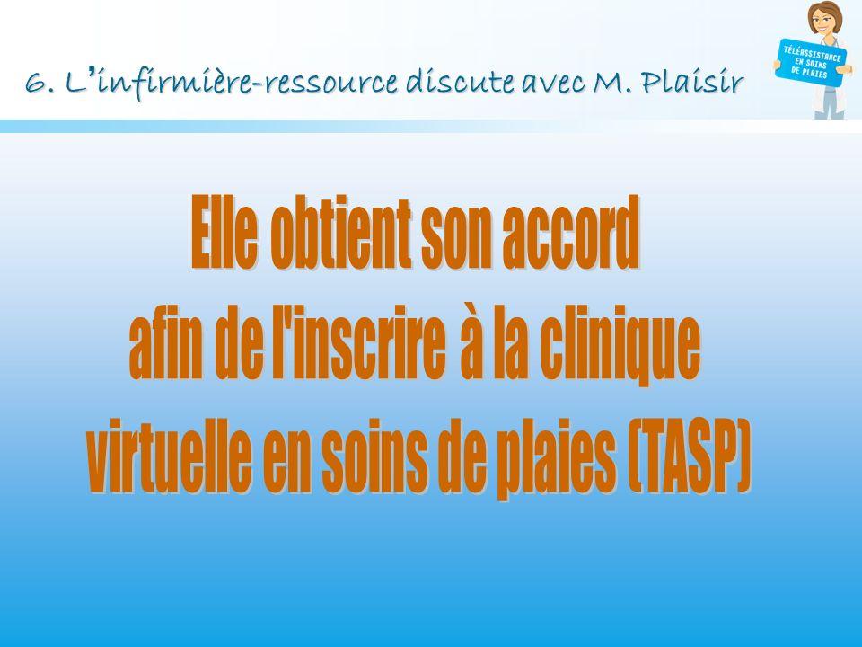 6. L'infirmière-ressource discute avec M. Plaisir