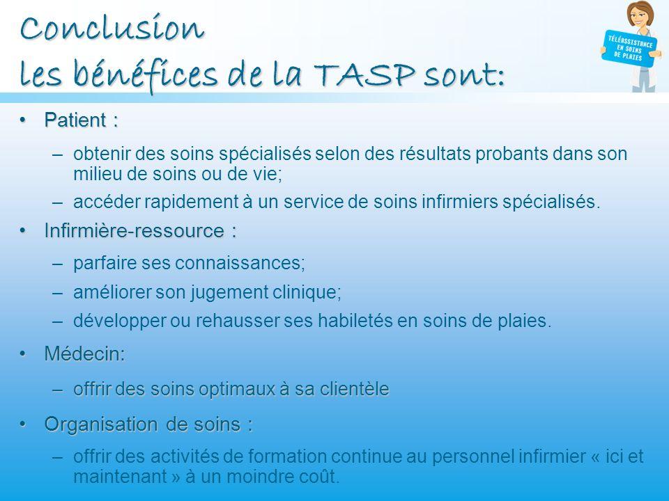 Conclusion les bénéfices de la TASP sont: