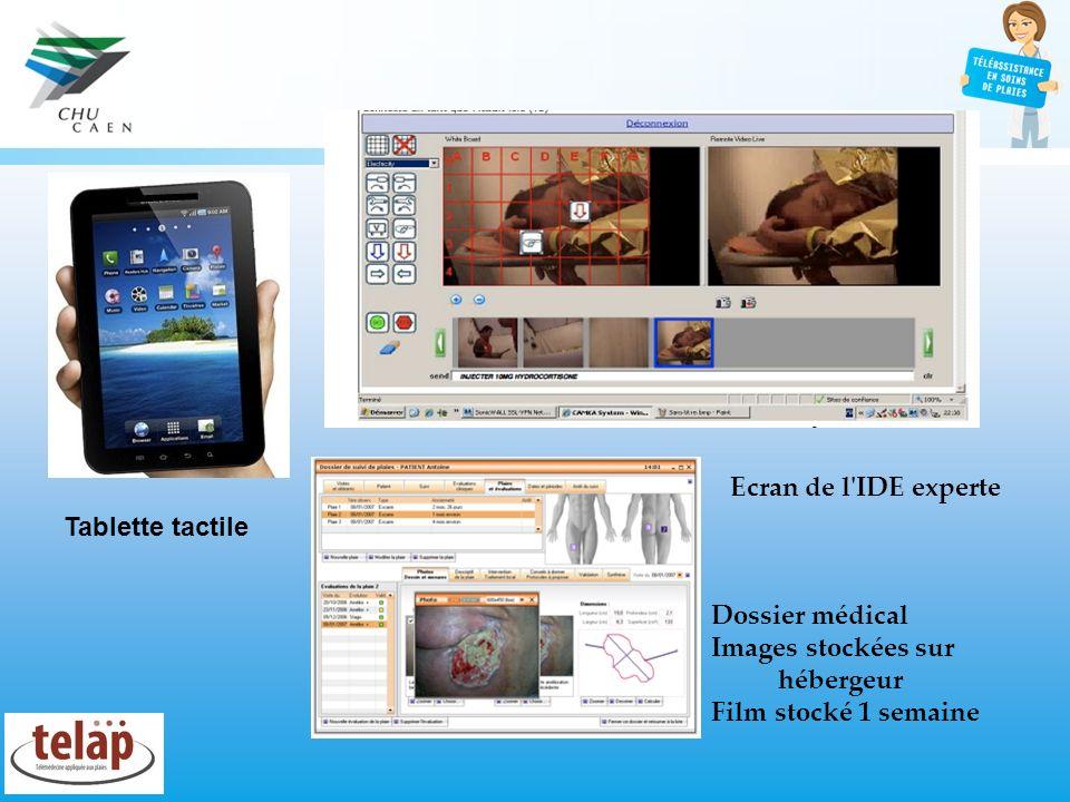 Ecran de l IDE experteTablette tactile.Dossier médical.