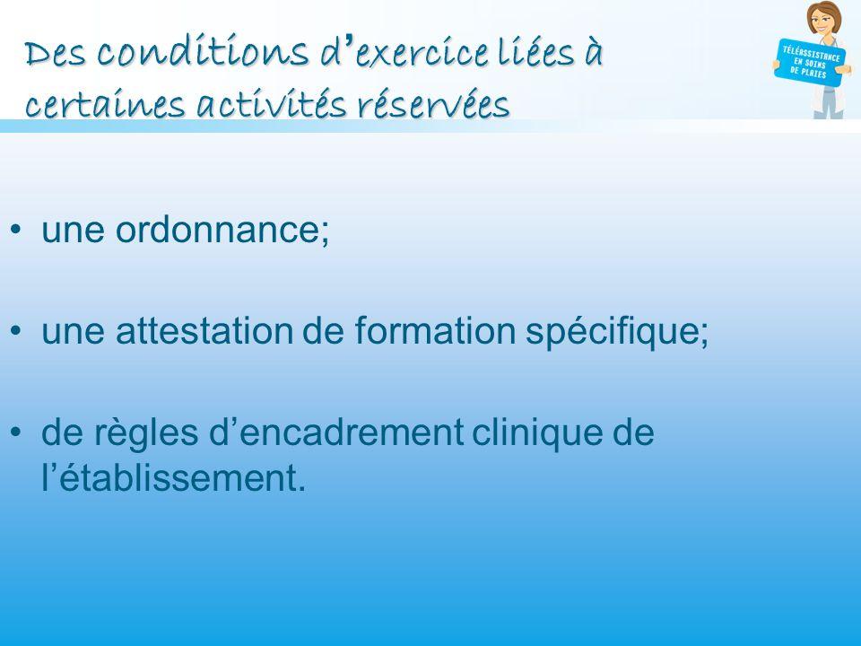 Des conditions d'exercice liées à certaines activités réservées
