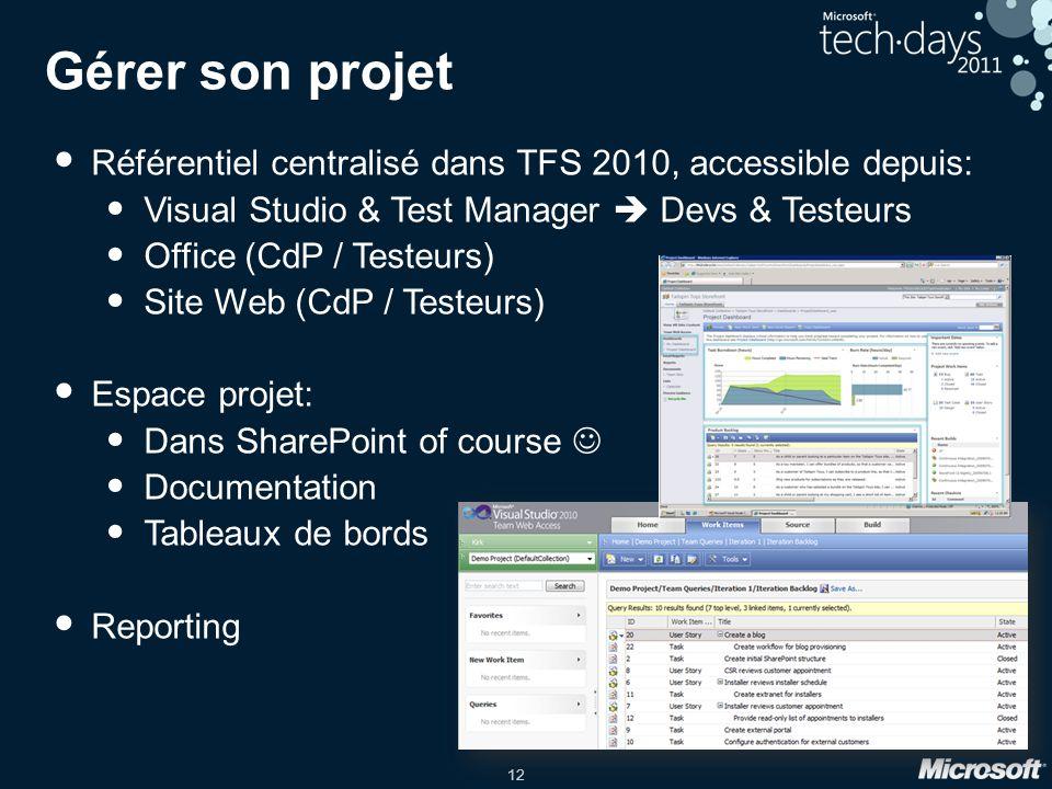 Gérer son projet Référentiel centralisé dans TFS 2010, accessible depuis: Visual Studio & Test Manager  Devs & Testeurs.