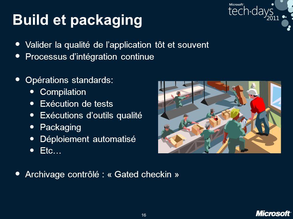 Build et packaging Valider la qualité de l'application tôt et souvent