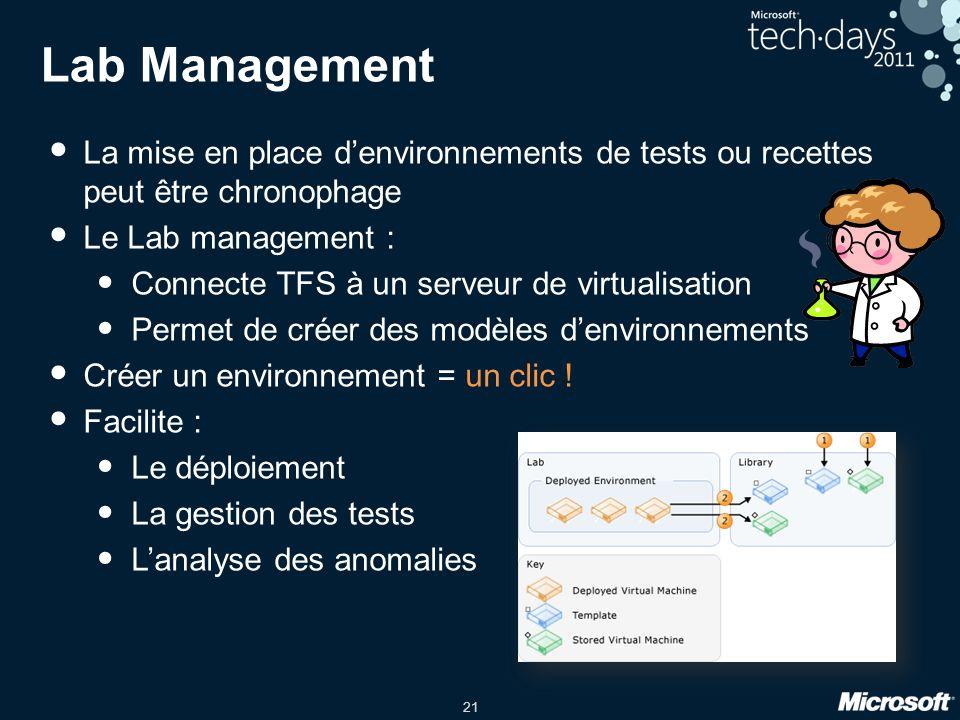 Lab Management La mise en place d'environnements de tests ou recettes peut être chronophage. Le Lab management :