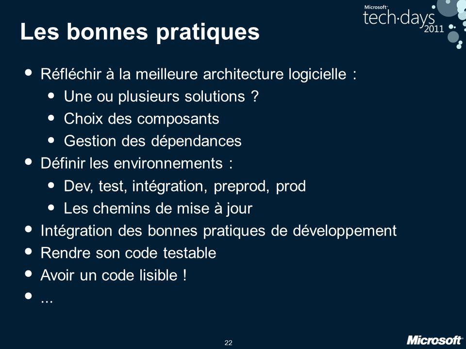 Les bonnes pratiques Réfléchir à la meilleure architecture logicielle : Une ou plusieurs solutions