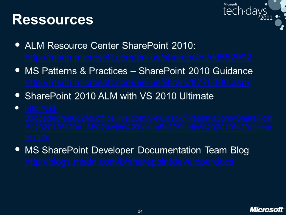 Ressources ALM Resource Center SharePoint 2010: http://msdn.microsoft.com/en-us/sharepoint/dd552992.