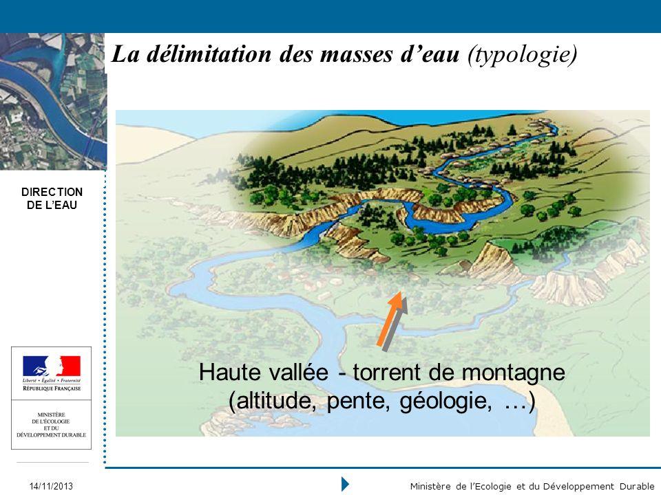 La délimitation des masses d'eau (typologie)