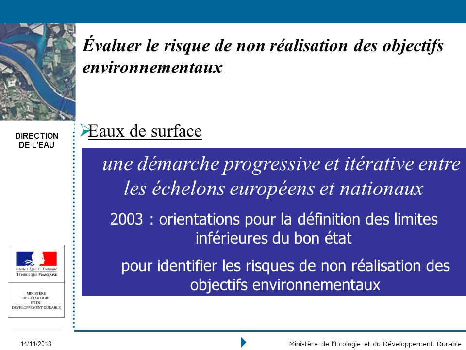 Évaluer le risque de non réalisation des objectifs environnementaux