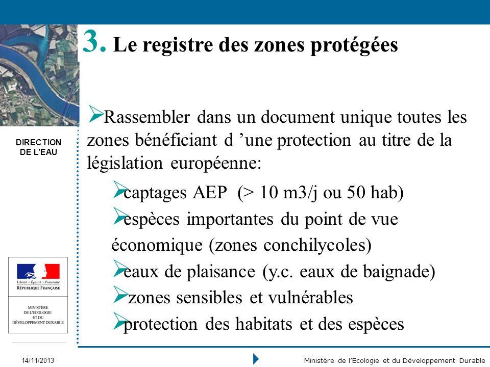 Le registre des zones protégées