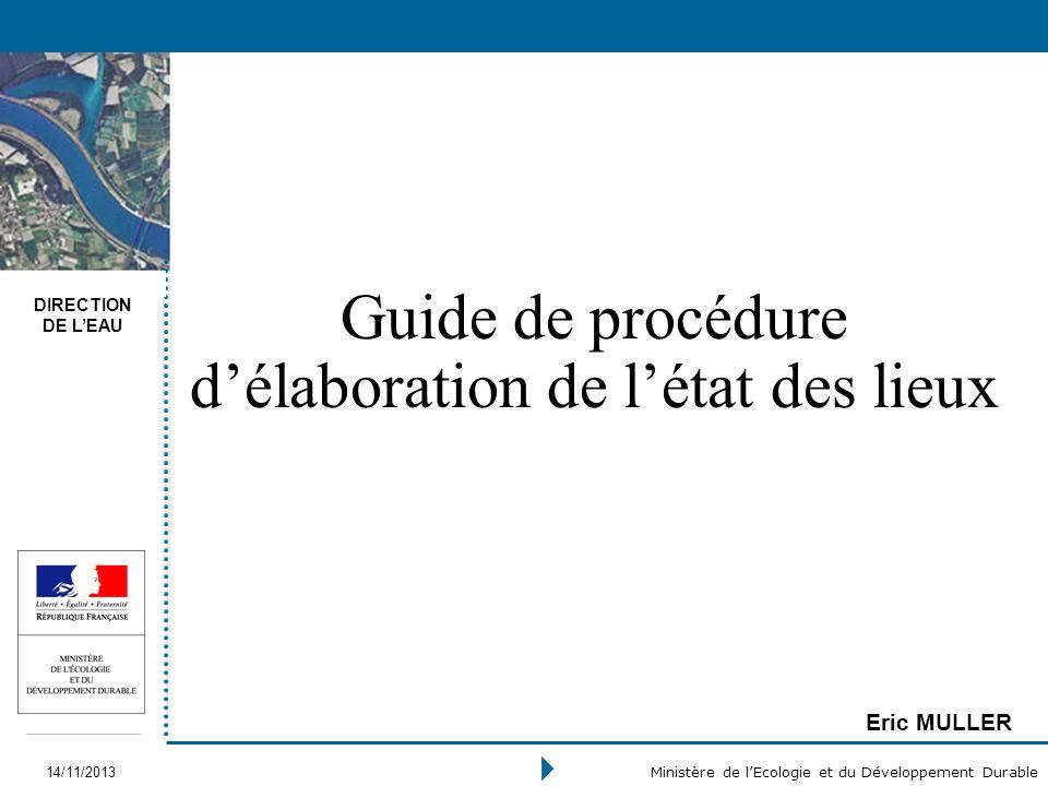 Guide de procédure d'élaboration de l'état des lieux