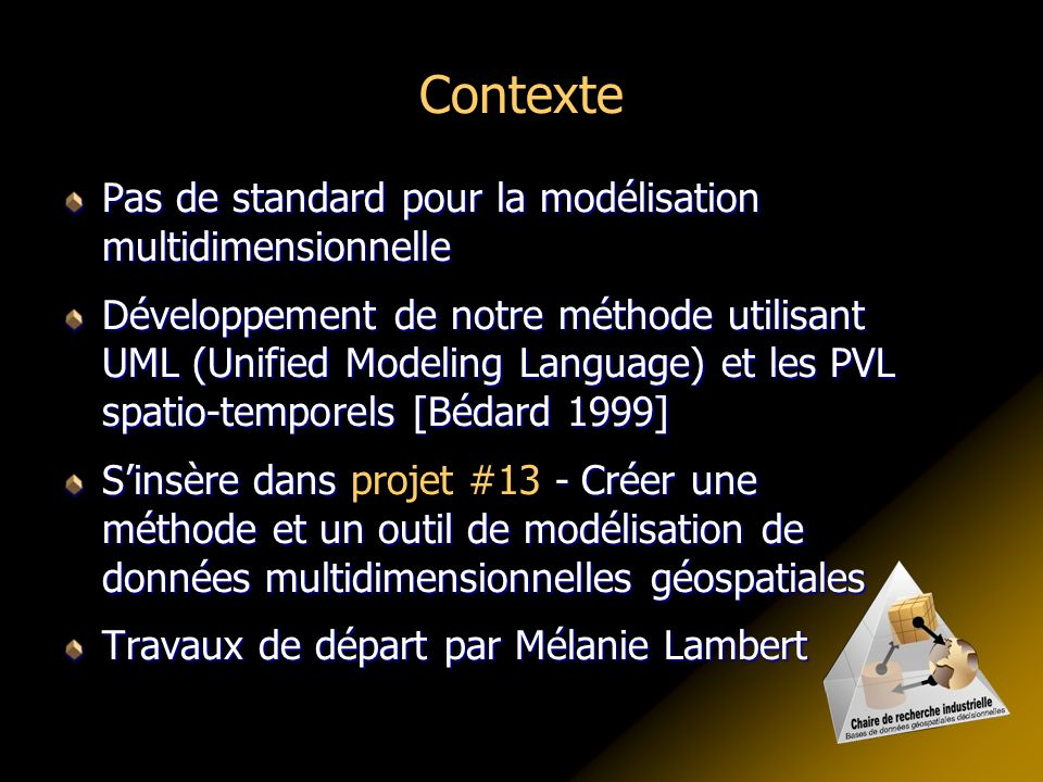 Contexte Pas de standard pour la modélisation multidimensionnelle