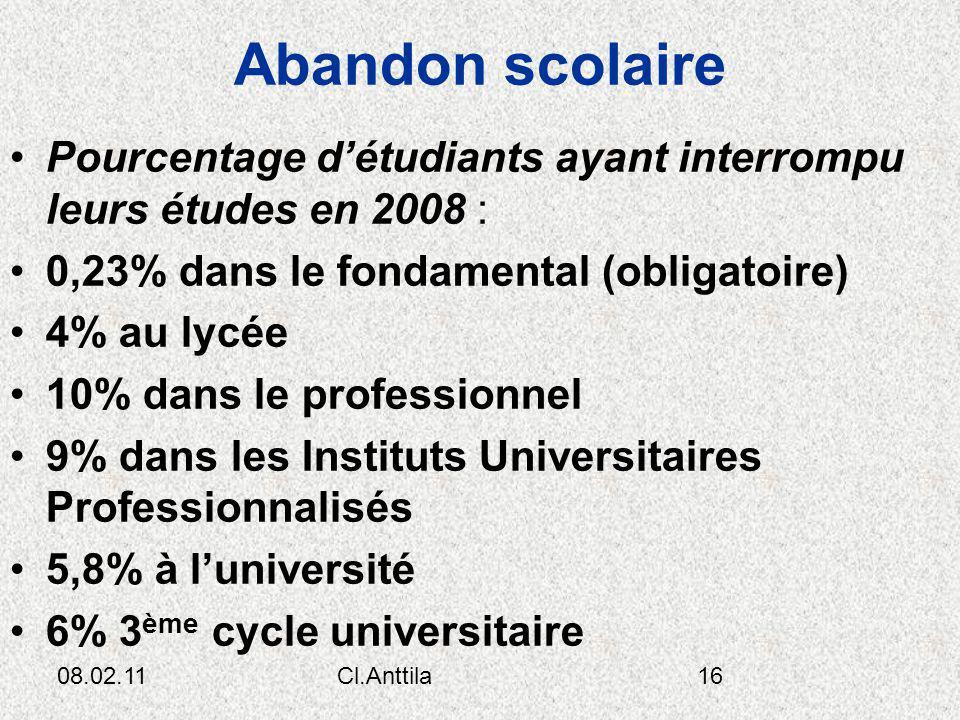 Abandon scolaire Pourcentage d'étudiants ayant interrompu leurs études en 2008 : 0,23% dans le fondamental (obligatoire)