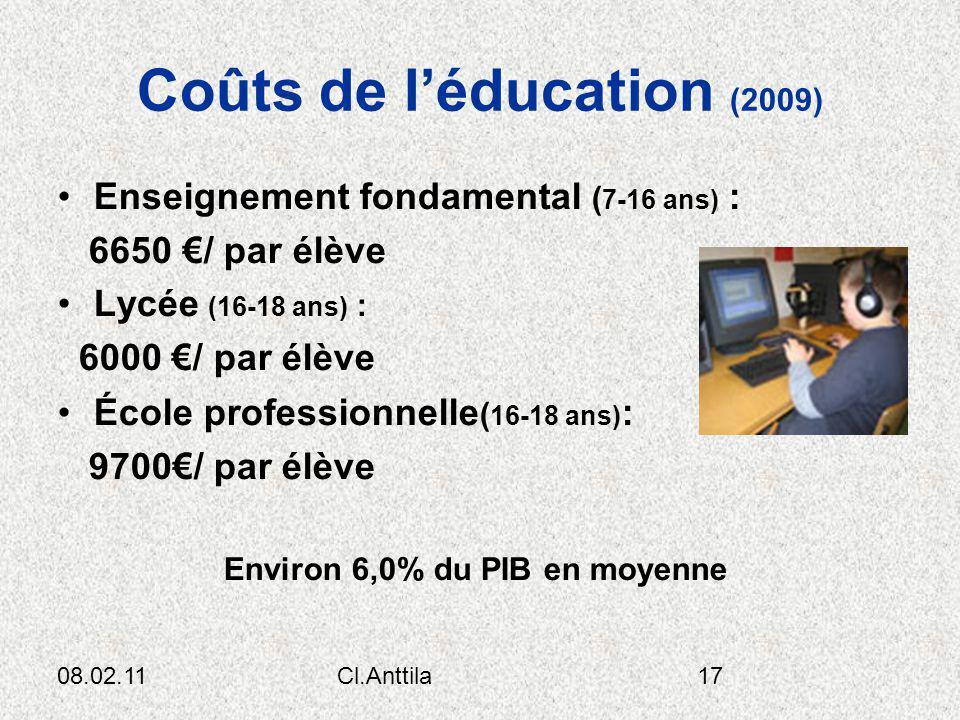 Coûts de l'éducation (2009)