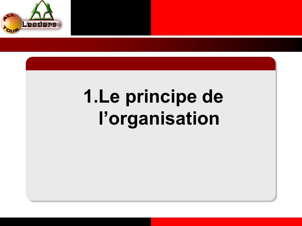 1.Le principe de l'organisation