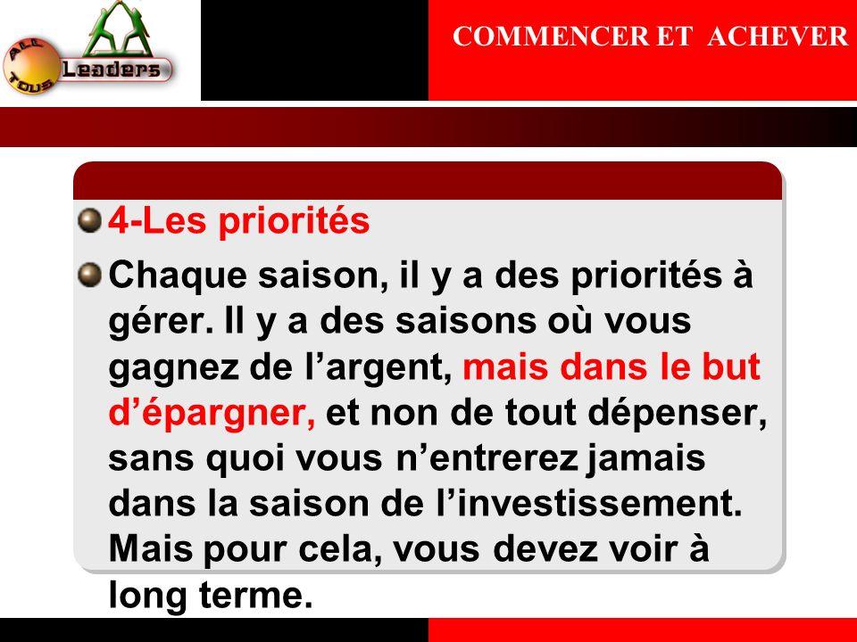 COMMENCER ET ACHEVER4-Les priorités.