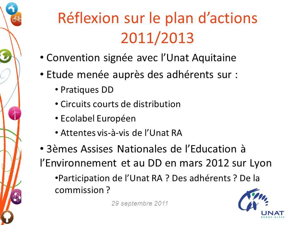 Réflexion sur le plan d'actions 2011/2013