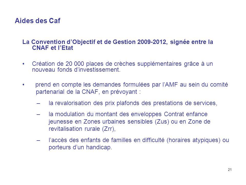 Aides des CafLa Convention d'Objectif et de Gestion 2009-2012, signée entre la CNAF et l'Etat.