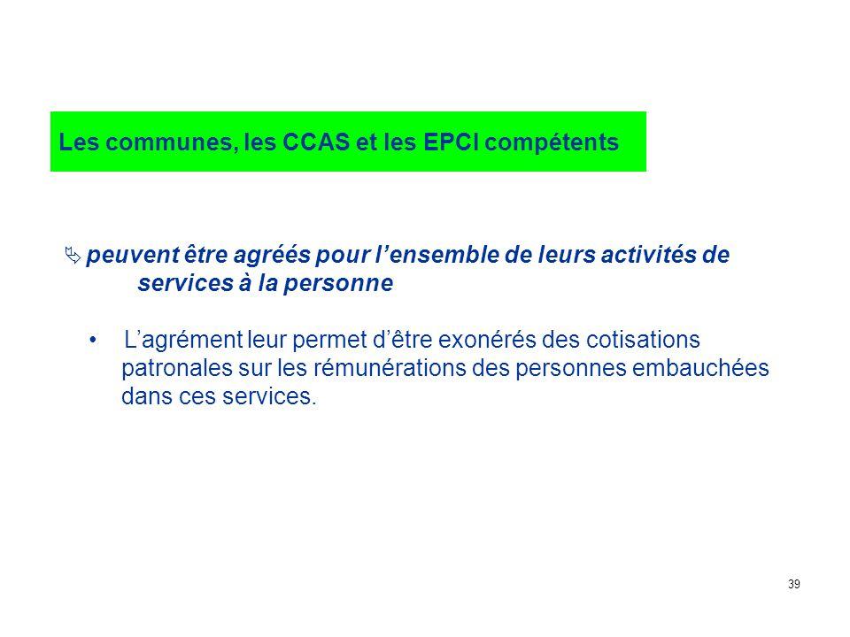 Les communes, les CCAS et les EPCI compétents