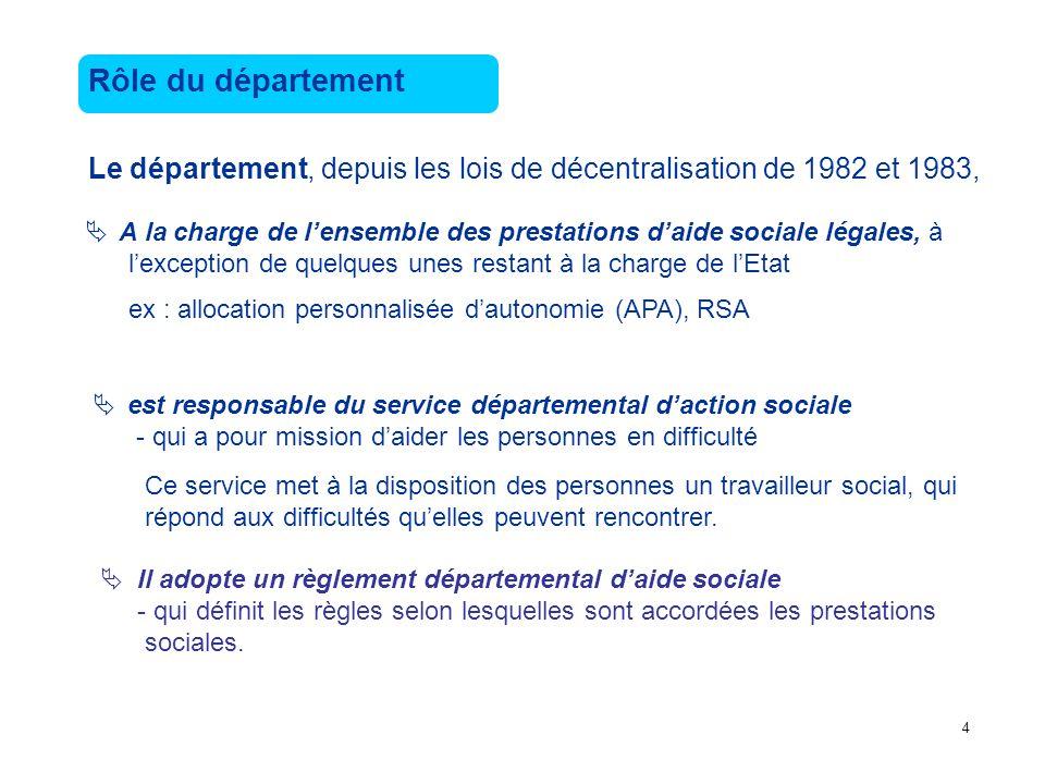 Rôle du département Le département, depuis les lois de décentralisation de 1982 et 1983,