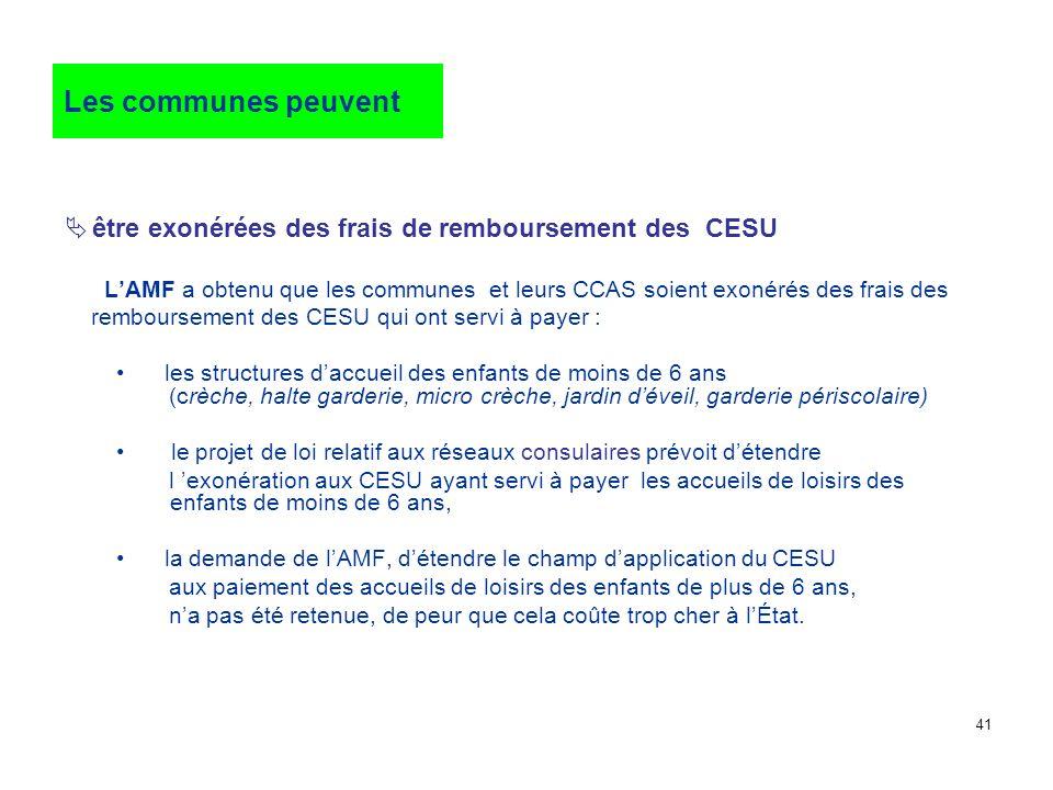 Les communes peuventêtre exonérées des frais de remboursement des CESU.