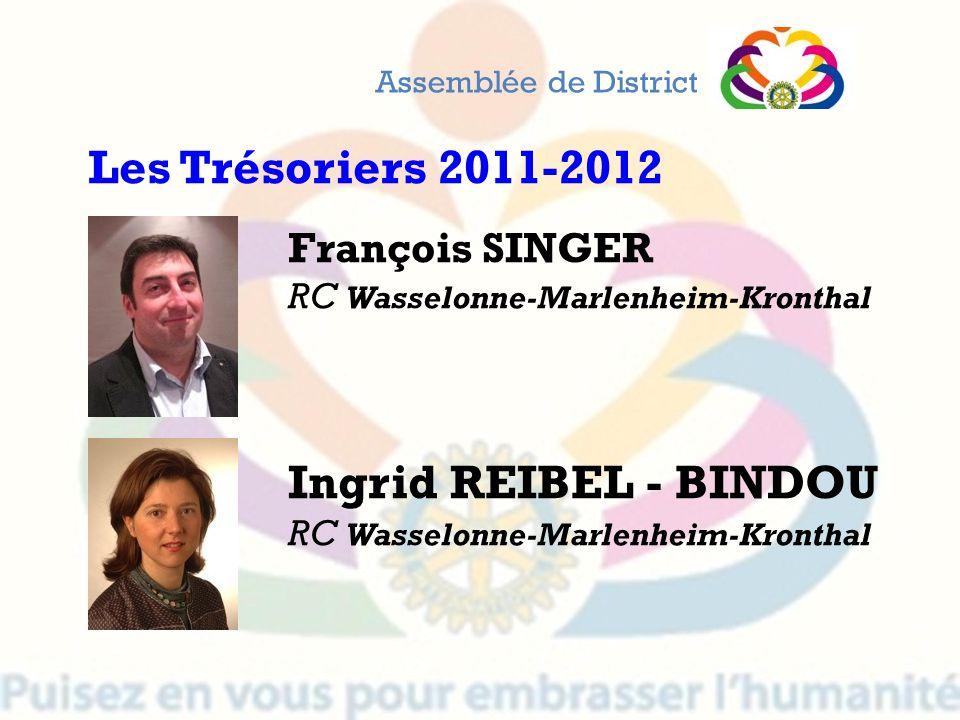 Les Trésoriers 2011-2012 Ingrid REIBEL - BINDOU François SINGER