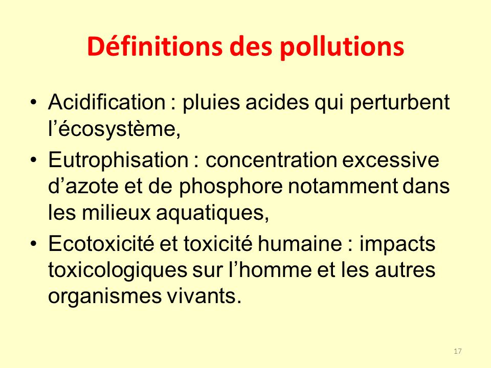 Définitions des pollutions