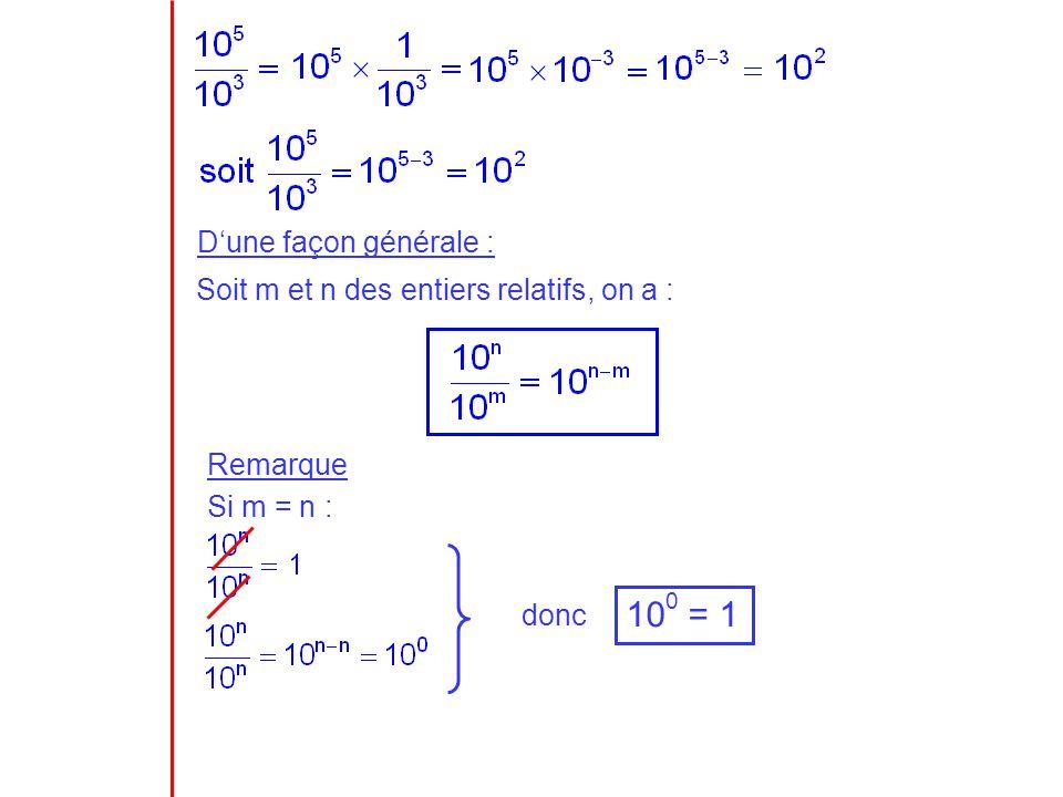100 = 1 D'une façon générale :