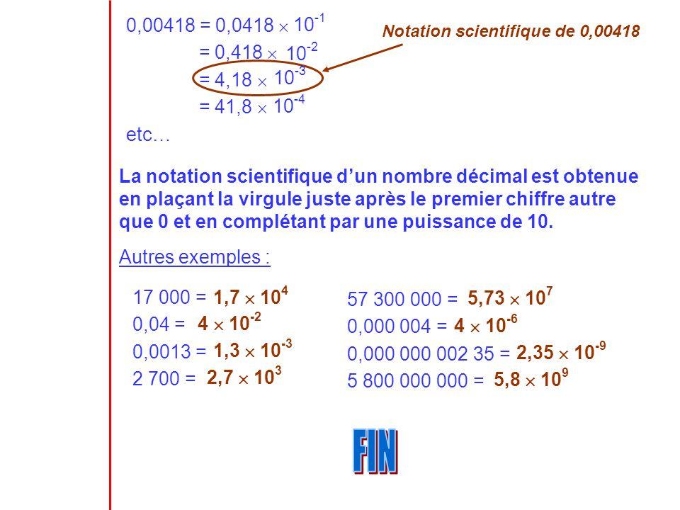 0,00418 = 0,0418  = 0,418  = 4,18  = 41,8  etc… 10-1. Notation scientifique de 0,00418. 10-2.