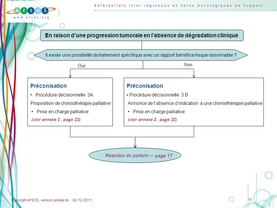 En raison d'une progression tumorale en l'absence de dégradation clinique