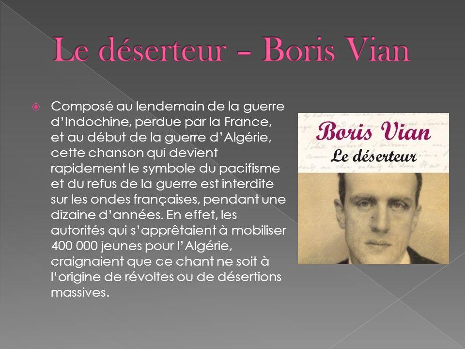 Le déserteur – Boris Vian