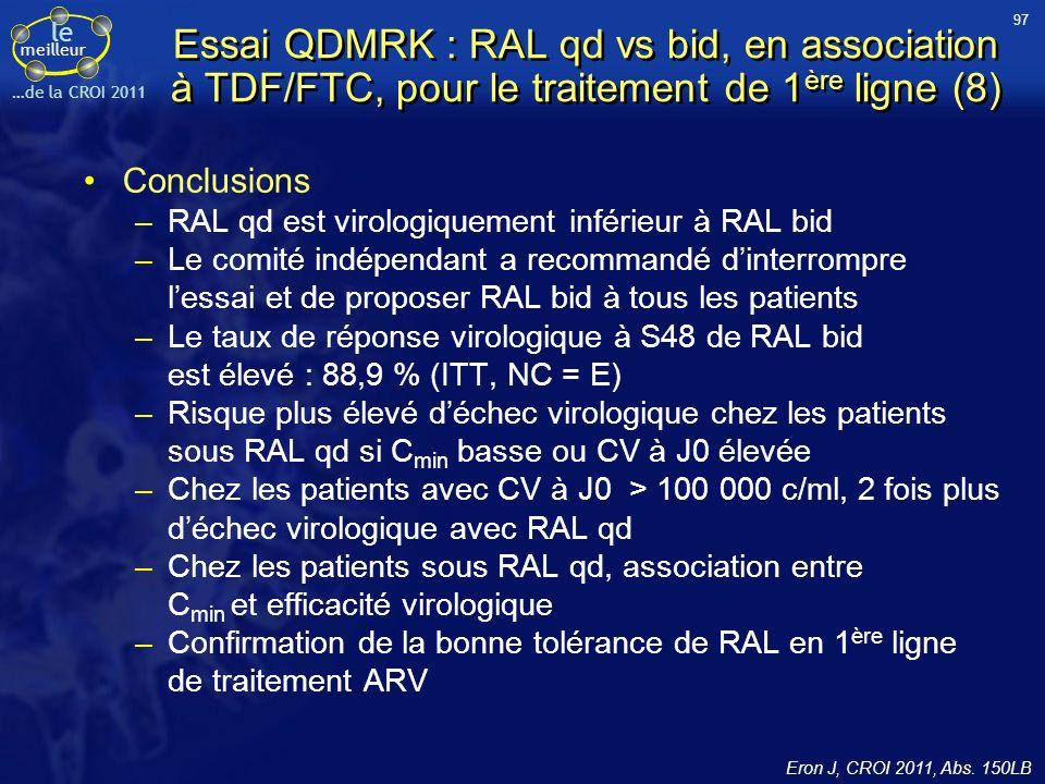 97 Essai QDMRK : RAL qd vs bid, en association à TDF/FTC, pour le traitement de 1ère ligne (8) Conclusions.