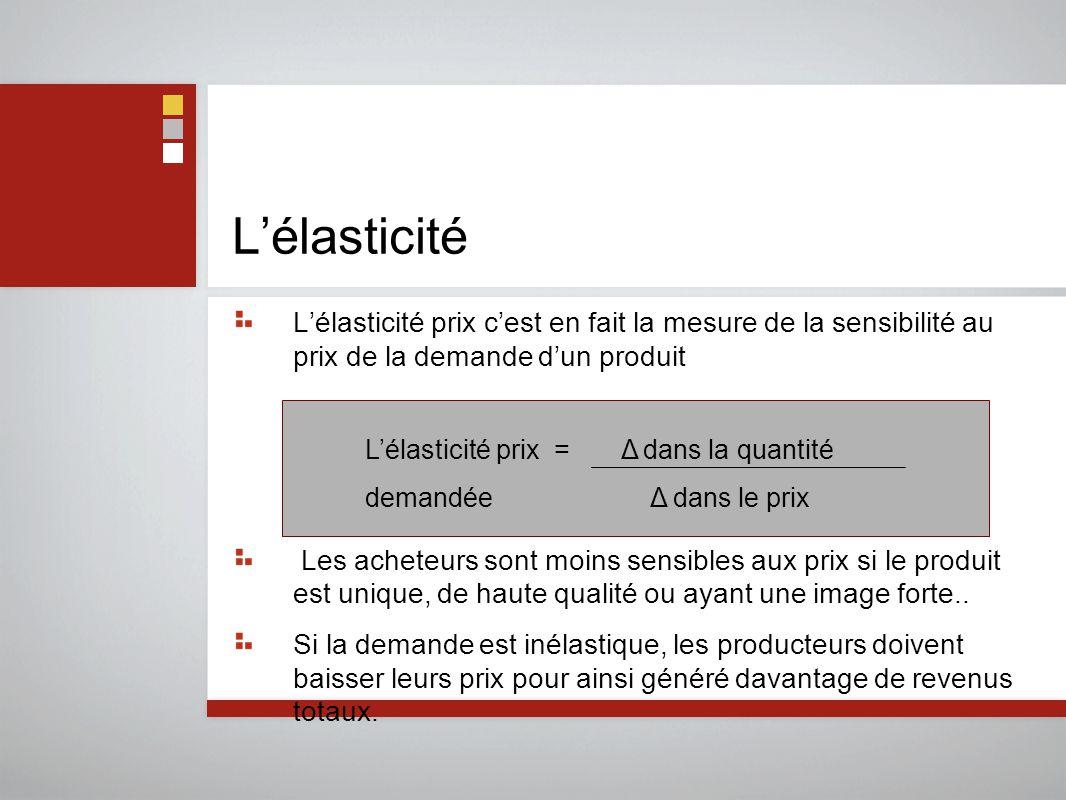 L'élasticité L'élasticité prix c'est en fait la mesure de la sensibilité au prix de la demande d'un produit.