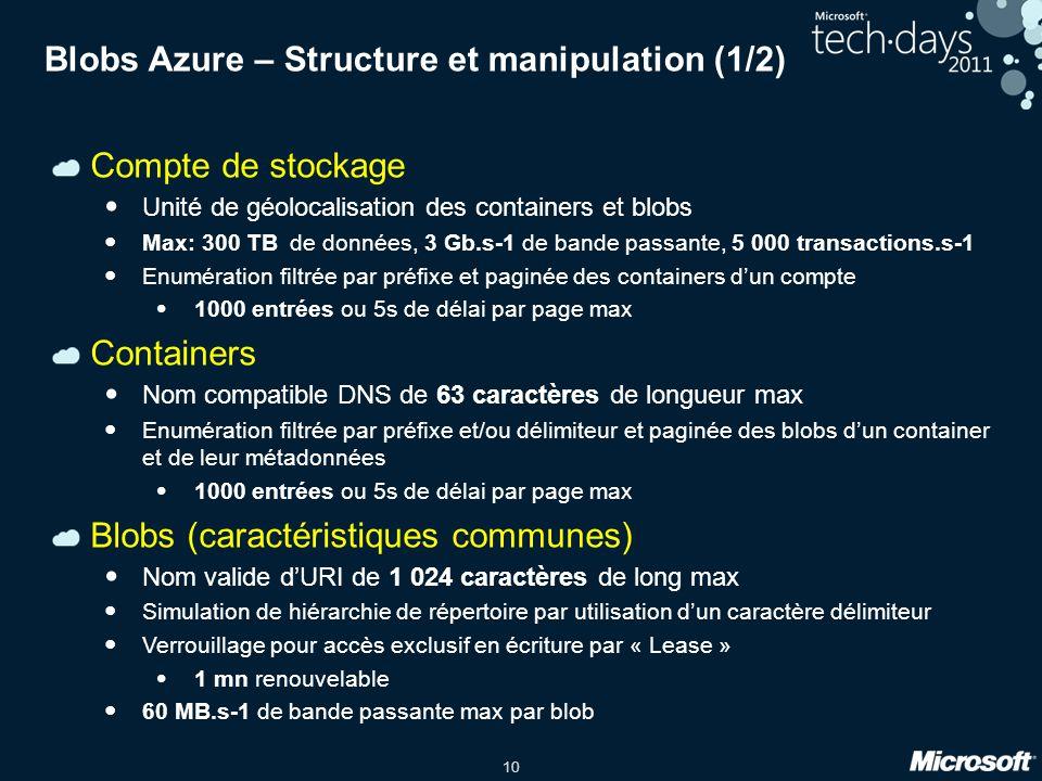 Blobs Azure – Structure et manipulation (1/2)