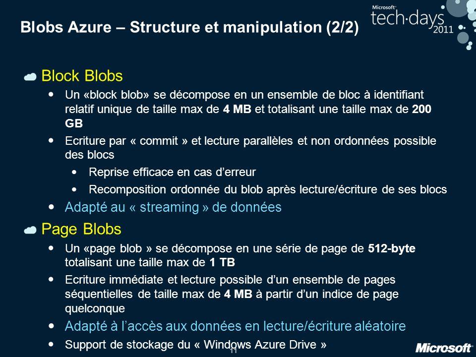 Blobs Azure – Structure et manipulation (2/2)
