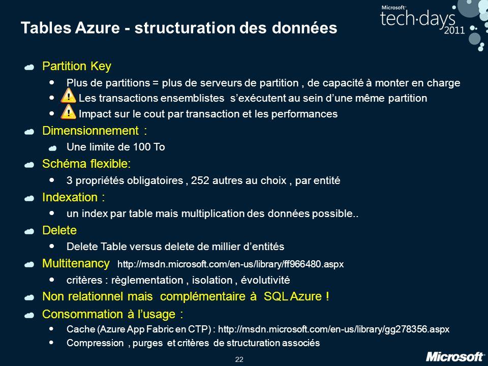 Tables Azure - structuration des données