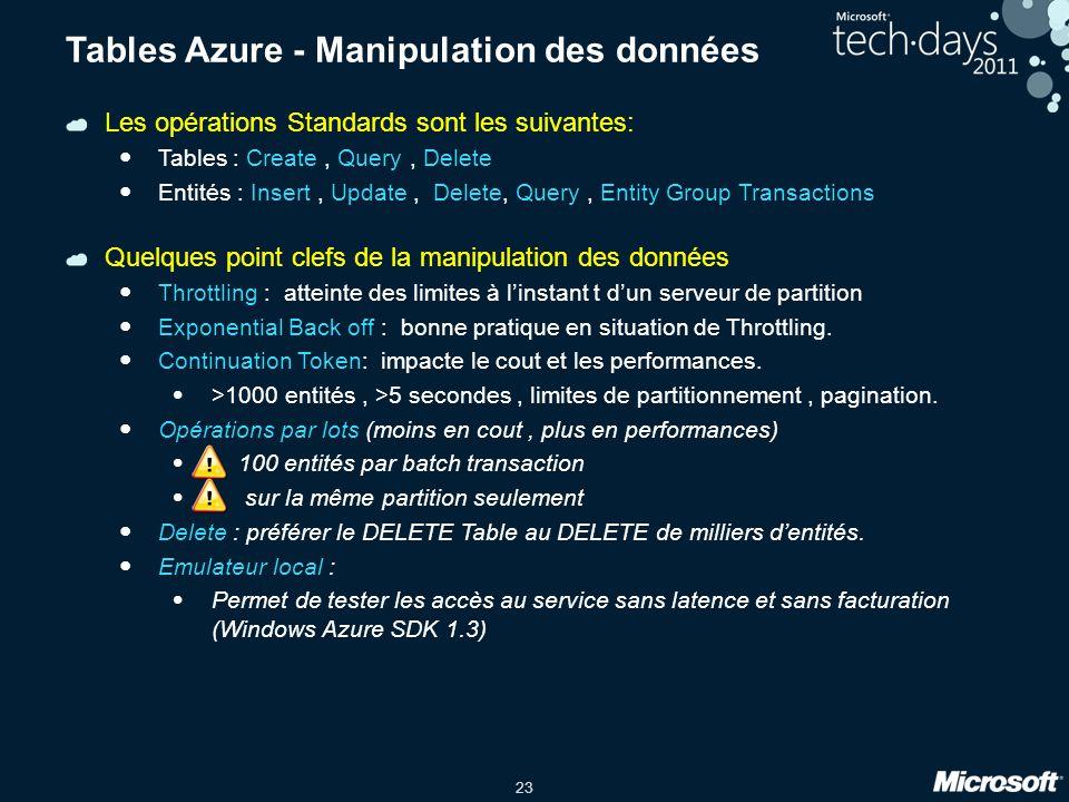 Tables Azure - Manipulation des données