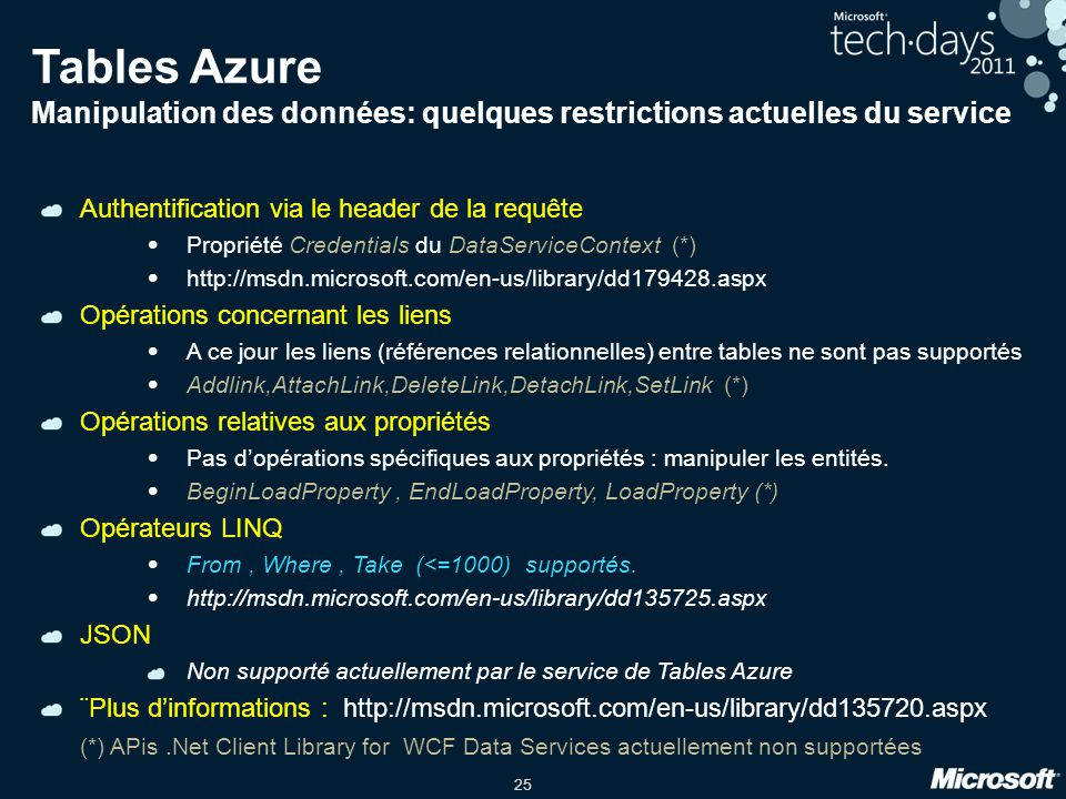 Tables Azure Manipulation des données: quelques restrictions actuelles du service