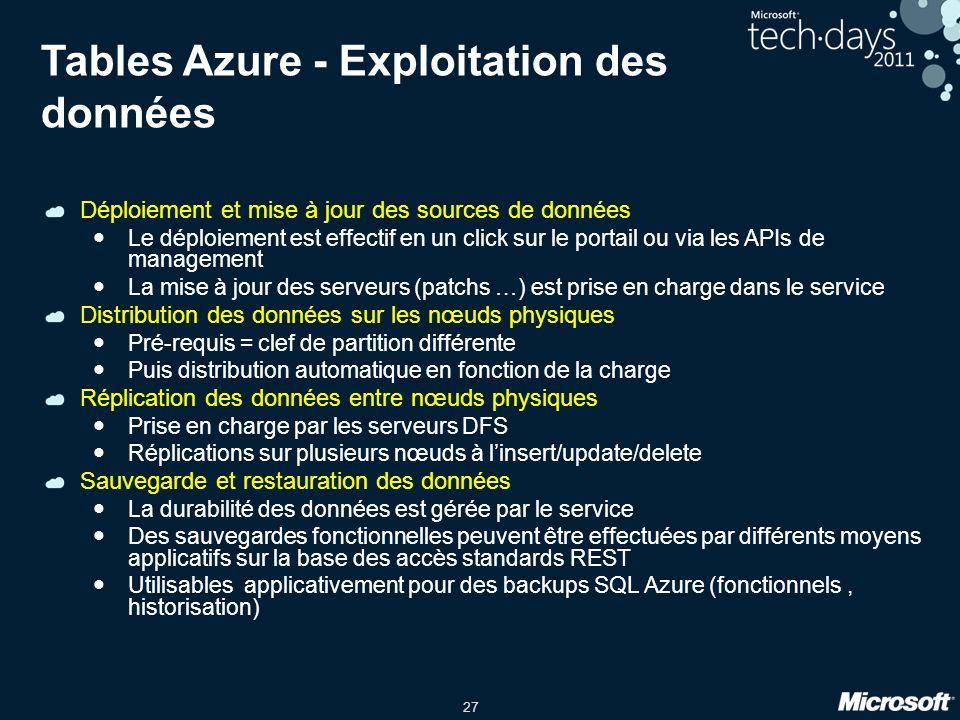 Tables Azure - Exploitation des données