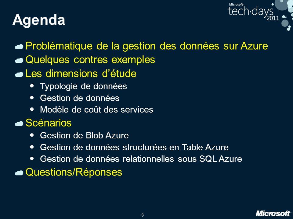 Agenda Problématique de la gestion des données sur Azure