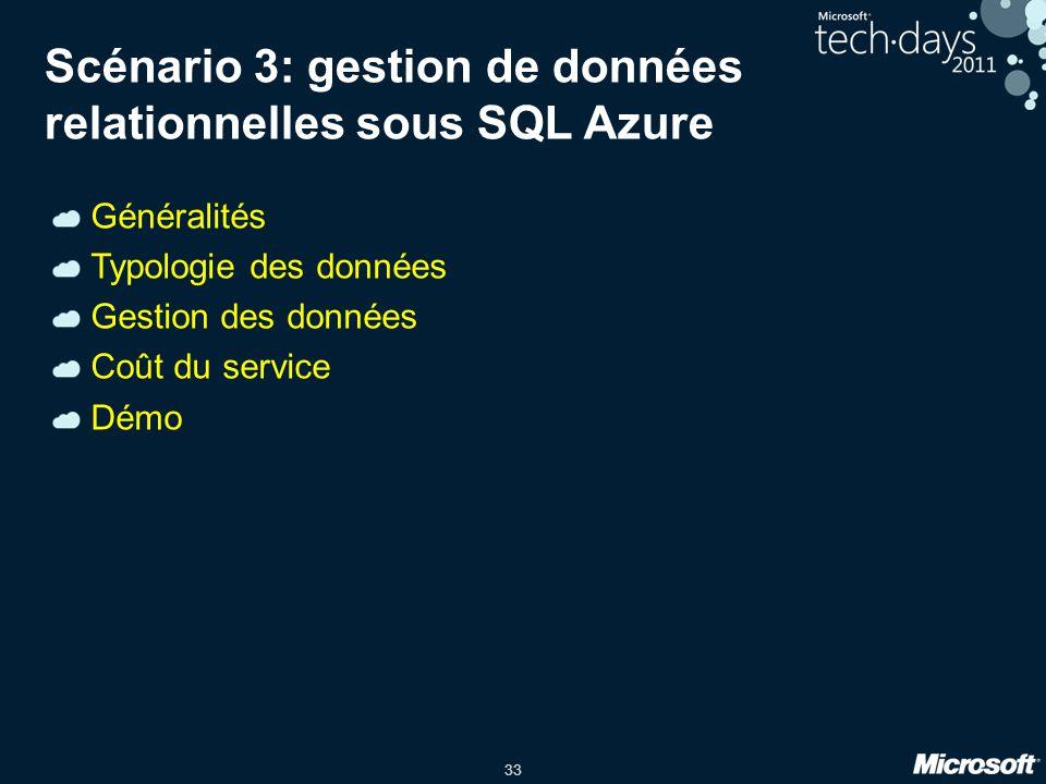 Scénario 3: gestion de données relationnelles sous SQL Azure