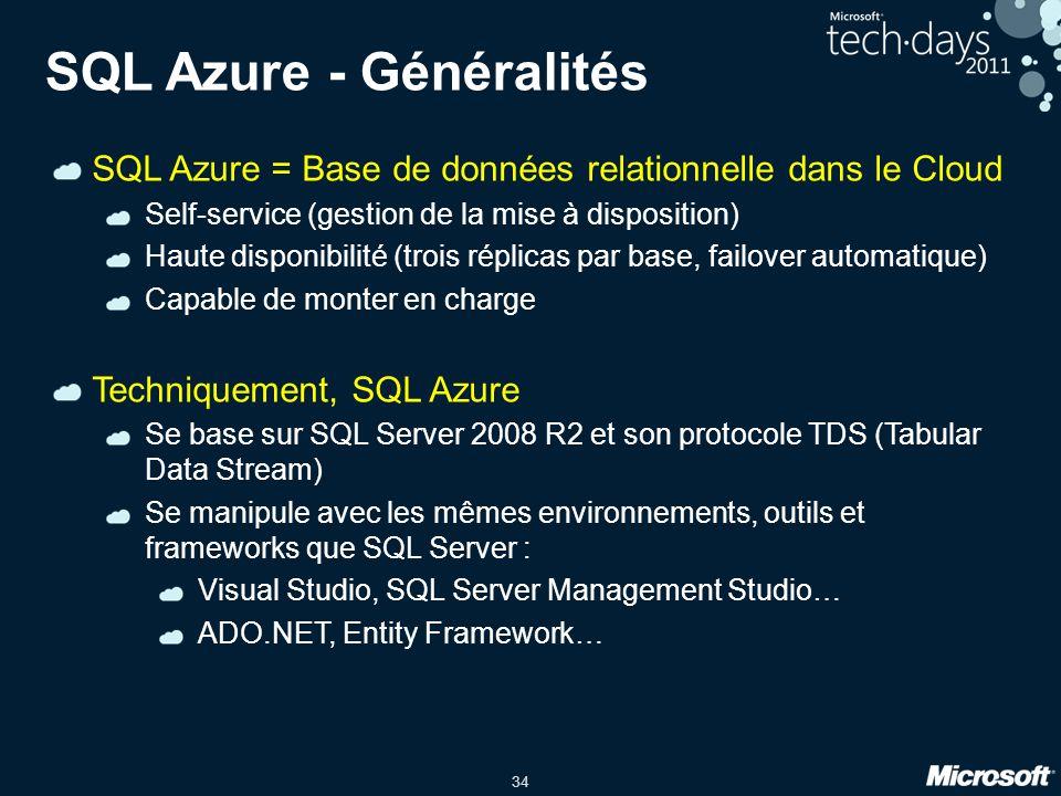 SQL Azure - Généralités