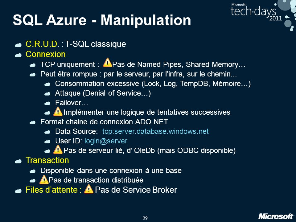 SQL Azure - Manipulation