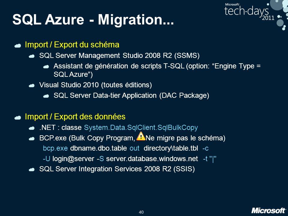 SQL Azure - Migration... Import / Export du schéma