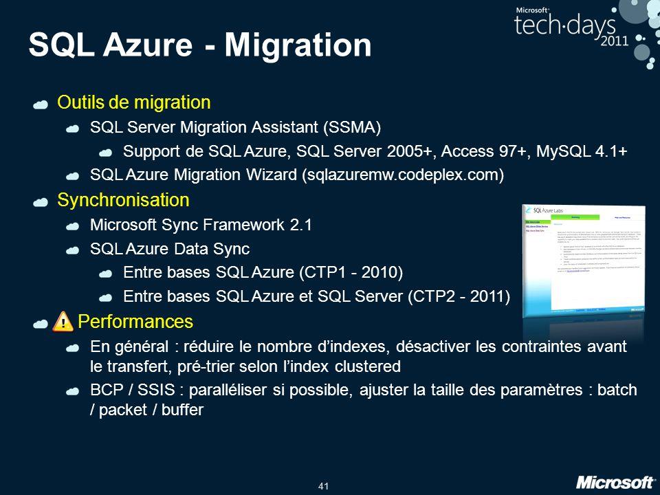 SQL Azure - Migration Outils de migration Synchronisation