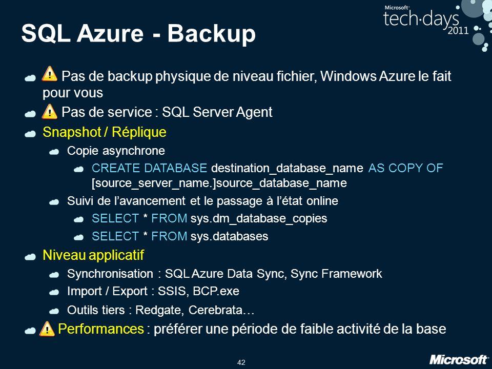 SQL Azure - Backup ! Pas de backup physique de niveau fichier, Windows Azure le fait pour vous. ! Pas de service : SQL Server Agent.