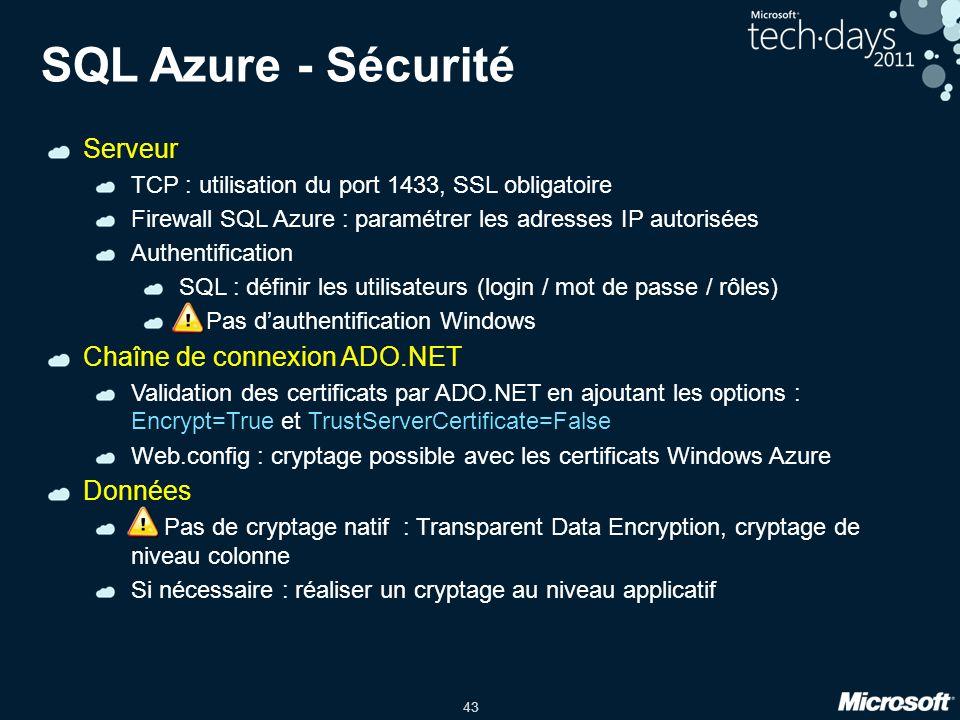 SQL Azure - Sécurité Serveur Chaîne de connexion ADO.NET Données