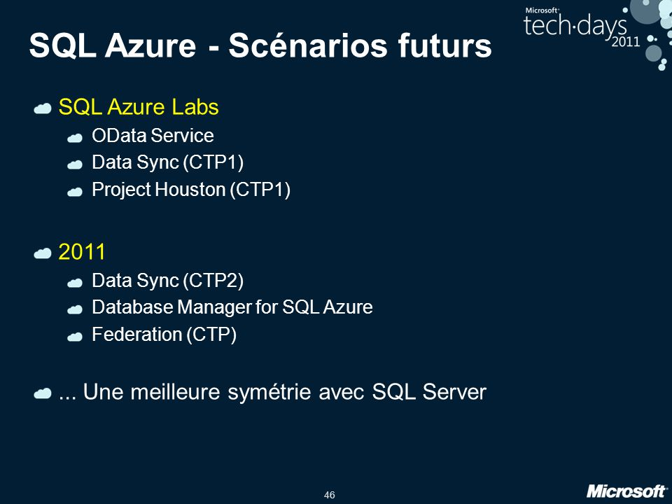 SQL Azure - Scénarios futurs