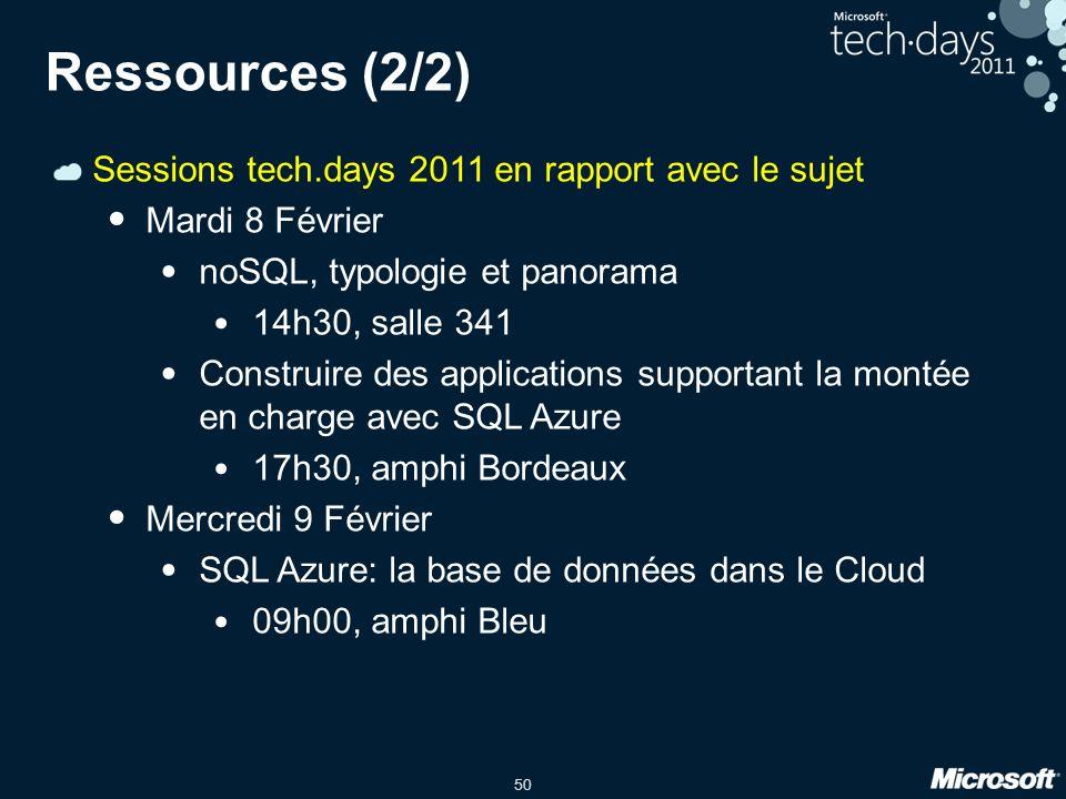 Ressources (2/2) Sessions tech.days 2011 en rapport avec le sujet