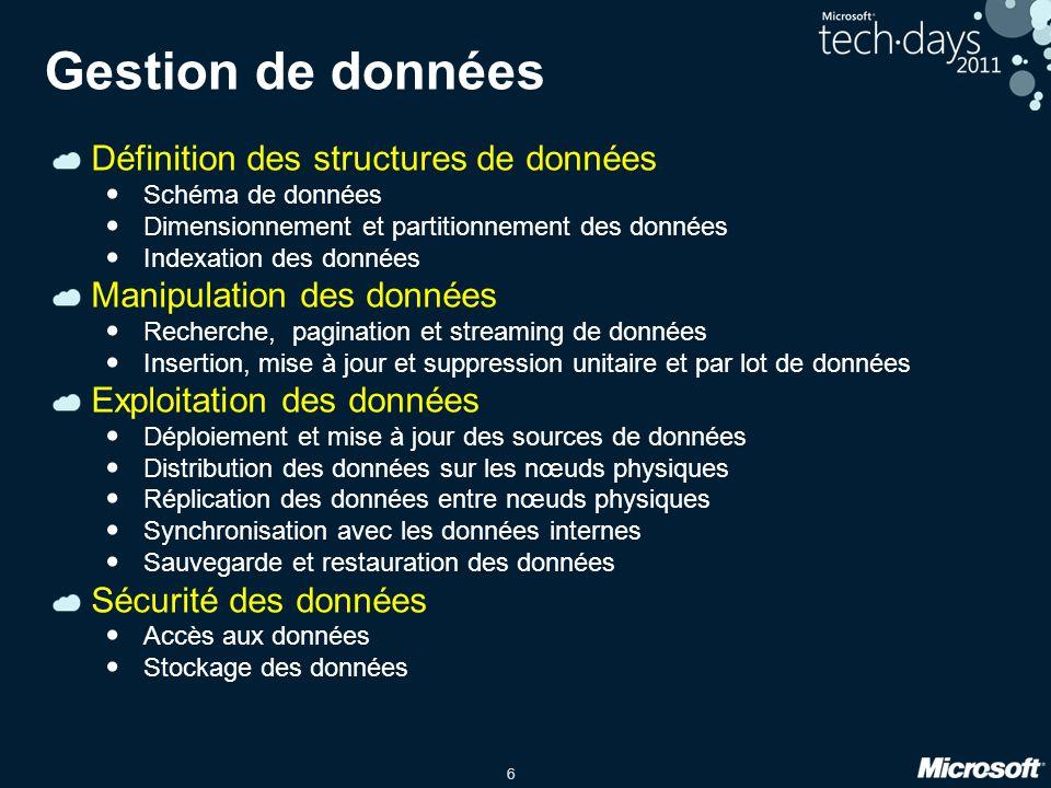 Gestion de données Définition des structures de données